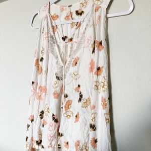 Free People Floral Print Sleeveless Knit Top